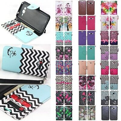 For Samsung Galaxy Grand Prime Hybrid PU Leather Wallet Pouch Case Flip Cover