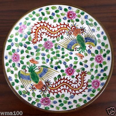 Japanese Porcelain Ware Hand Decorated in Hongkong Encased in Brass Floral Bowl