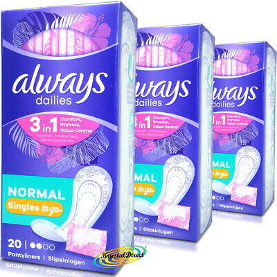 3x Always Dailies Pantyliners Singles Sanitary Pads 20 Normal Wrapped