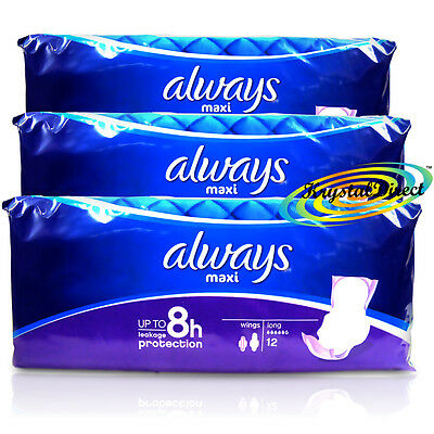 3x Always Maxi Long 12 Sanitary Towels Wings Cotton Like Super Plus Pads