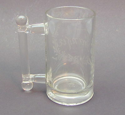 Child's Clear Glass Handled Mug Cup w/ Name Antique Dated: 1888 FRANKIE