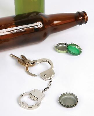 Cuff'D Handcuffs Keychain Bag Clip Bottle Opener Novelty Chrome Party Gift
