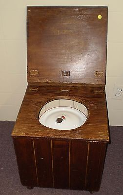 Antique Chamber Pot Stand W/Pot Hand Made On Wheels