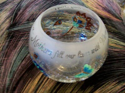 Mother's Special Message Crackle Glass Bowl