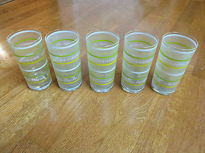 Vintage Frosted Green Yellow Stripes Drinking Glasses Lot 5 Euc