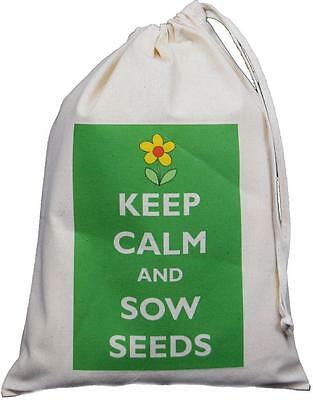 Keep Calm And Sow Seeds - Small Natural Cotton Drawstring Bag