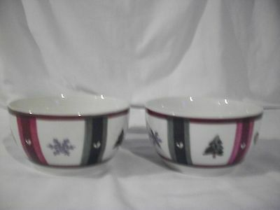 PFALTZGRAFF SNOW BEAR HOLIDAY WINTER CEREAL SOUP BOWL MITTENS TREE SNOW 2 PIECES