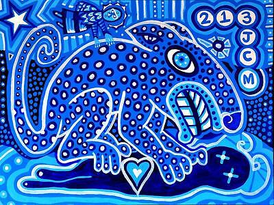 Giclee of Painting by Jaime Carbo Colorful Pop Art 1/3 BLUE JAGUAR
