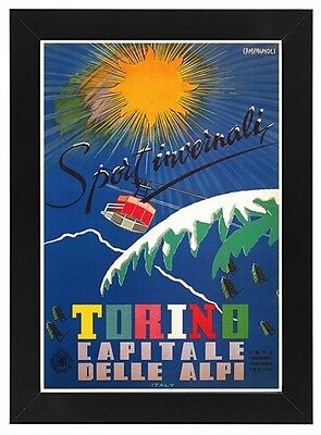 TV07 Vintage 1950/'s Italian Italy Torino Winter Sports Travel Poster A1 A2 A3