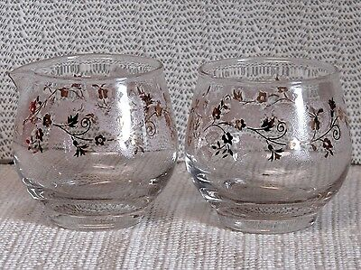 LIBBEY GLASS CREAMER & SUGAR-GOLD VINE SHADED WITH PINK