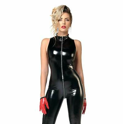 PATRICE CATANZARO Angelica Lack Catsuit PVC Vnyl Jumpsuit Bodysuit GOTHIC PARTY