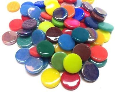 "25 Bright Medley Mix ""Penny Rounds"" Recycled Glass Gems Round Shape Mosaic Tiles"