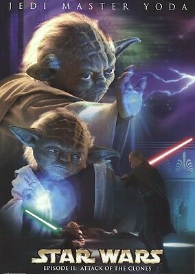 ATTACK OF THE CLONES ~ YODA FORCE DUEL 25x36 MOVIE POSTER Star Wars Episode II 2