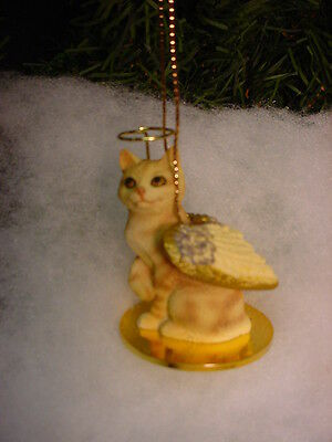RED TABBY MANX Cat ANGEL ORNAMENT Figurine HAND PAINTED kitty kitten Christmas