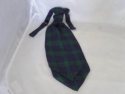 (A) Tartan Black Watch-Green/Blue/Black Mens Polyester Scrunchie Ruche Cravat