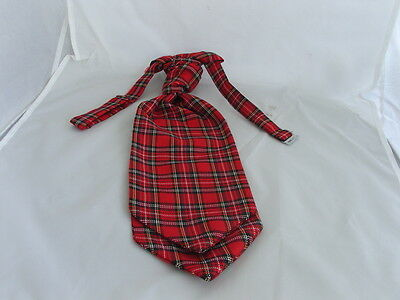 (B)Tartan Royal Red Stewart Mens Polyester Ready Pre-tied Scrunchie Ruche Cravat