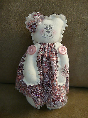"""Hand-crafted Country Bear 5"""" Signed Fabric Teddy Bear 1993"""