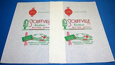 2 Vintage Stouffville Creamery Co Butter Spray One Pound Wrappers