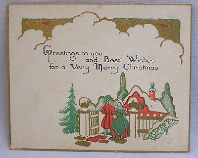 Art Deco Christmas Card Embossed Couple at Garden Gate Gold Red Green 1930 Dated