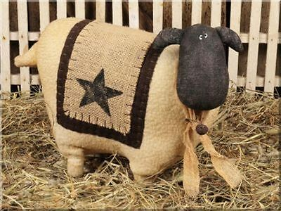 Large Wooly Soft Sheep With Star And Burlap Blanket Rusty Bell Shelf Sitter