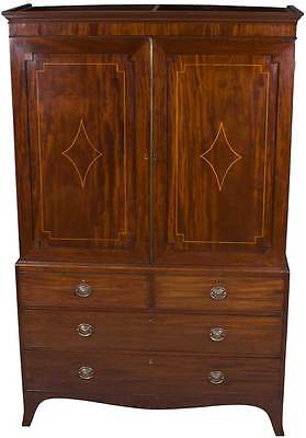 Antique Linen Press Armoire w Interior Slides Drawers English Mahogany Inlaid