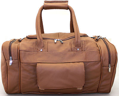 Large Vintage Genuine Leather Travel Holdall Weekend Cabin Sports Duffle Bag TAN
