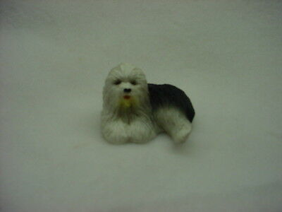 OLD ENGLISH SHEEPDOG puppy TiNY DOG Figurine HAND PAINTED MINIATURE Resin Statue