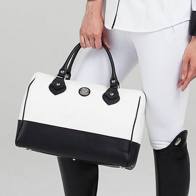 Asmar Equestrian Lady Duffle - Leather Handbag Purse - Black/White #47867 - SALE