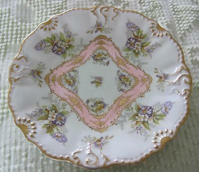 "Hand Painted Limoges Floral and Raised Gold Relief 8.5"" Cabinet Plate"