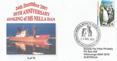 Stamp Antarctic 2007 Canberra Stamp Show sinking Nella Dan ship cover & postmark