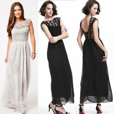 Long Lace Chiffon Wedding Evening Formal Party Ball Gown Prom Bridesmaid Dress