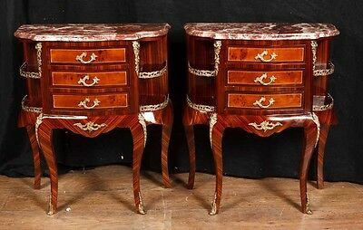 Pair Empire Bedside Chest Drawers Nightstands Marble Top Table