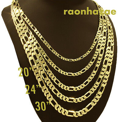 """Italian Figaro Yellow 14k Gold Plated 3 to12mm wide 20"""" 24"""" 30"""" Chain Necklace"""
