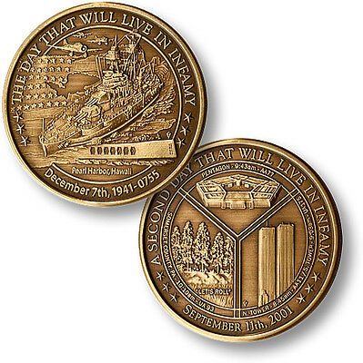NEW Day of Infamy World War II September 11 Pearl Harbor Challenge Coin 56003