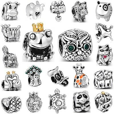 Charm Animals Cat Horse Frog Owl Fit 3mm European 925 Silver Sterling Bracelet