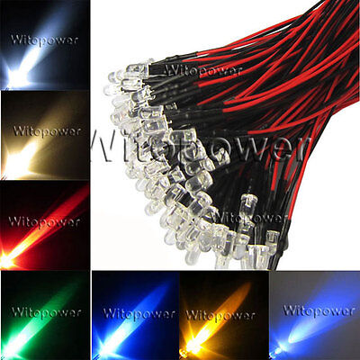 20pcs LED Pre Wired 3mm 5mm 10mm 5V 12V 24V White Warm Red Blue Green Amber RGB