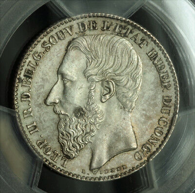 1887, Congo(Free State), Leopold II. Silver 2 Francs Coin. Key-Date! PCGS MS-64!