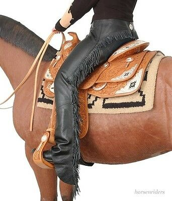 Western Equitation Show Chaps - Black Smooth Leather - Sizes XS,S,M,L,XL