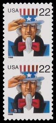 3259b Uncle Sam 22 Setenant Pair Top 3259 Bottom 3259a Scarce MNH - Buy Now