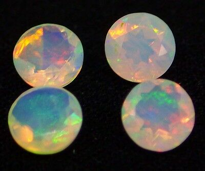 4 stones 1.09 ct Fine Natural 5 mm Faceted Round Ethiopian OPAL