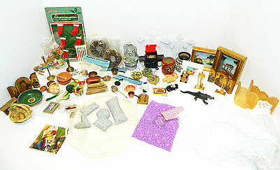 Lot Antique+Vtg Miniature Accessories Paintings Postcards Kitchen Fountain BBQ