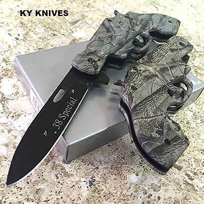 "8"" Camo .38 Special Gun Spring Tactical Assisted Pocket Knife  SE-863GM zix1"