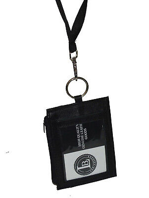 Leather ID Card Badge Holder Neck Pouch Ring Wallet With Strap New Black