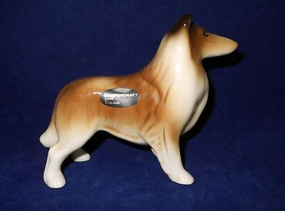 Vintage Ceramic Coopercraft Collie Sheltie Figurine England Dog Original Label!