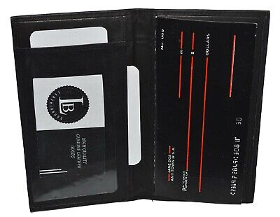 Brand New Hand Crafted Genuine Soft Leather Checkbook Cover Black by Leatherboss