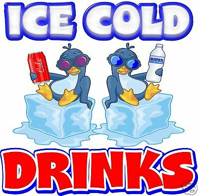 "Ice Cold Drinks Decal 14"" Concession Restaurant Food Truck Vinyl Sticker"