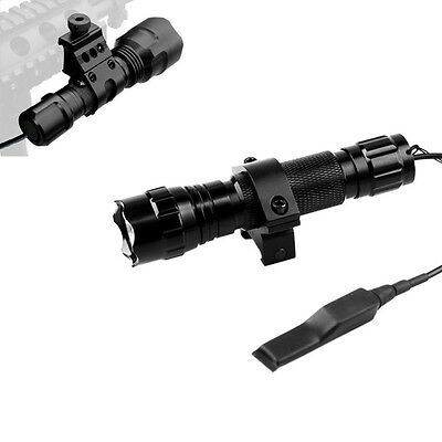 Cree T6 LED Torch 1000LM Rifle Hunting Tactical Flashlight+Remote Switch W/Mount