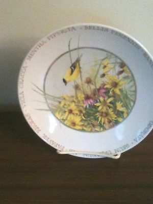 Marjolein Bastin Plate Hallmark Wildflower Meadow Goldfinch Bird 8""