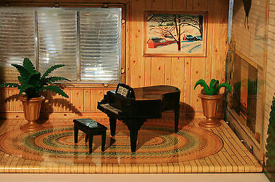 IDEAL Doll House Furniture:  Piano and Bench  Boys & Girls  Tin Dollhouse