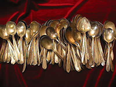 Lot of 100 Silverplate Sugar Spoons Assorted Craft Grade Vintage Flatware
